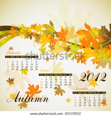 Maple autumn calendar 2012, vector illustration, eps10 - stock vector