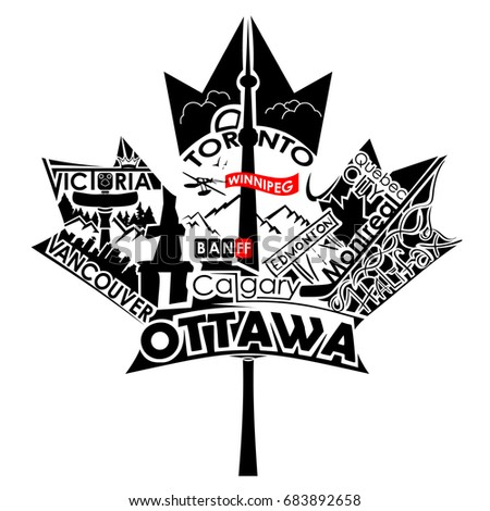Maple Leaf Art Biggest Cities Canada Stock Vector Royalty Free