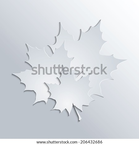 Maple leaves silhouettes on gray background.