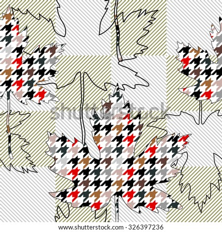 Maple leaves textile pattern with houndstooth and diagonal stripes print. Backgrounds & textures shop. - stock vector