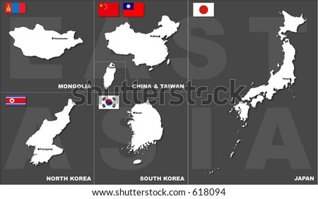 Maps, flags and capitals of East Asian countries. Everything is separable and editable (Vectors 10) - stock vector
