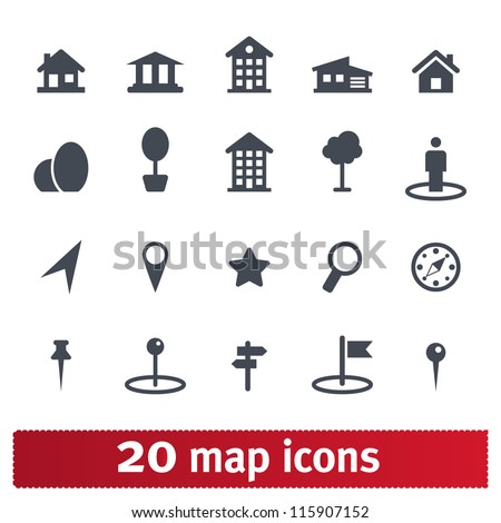 Maps icons: vector set of places, pins and directions - stock vector