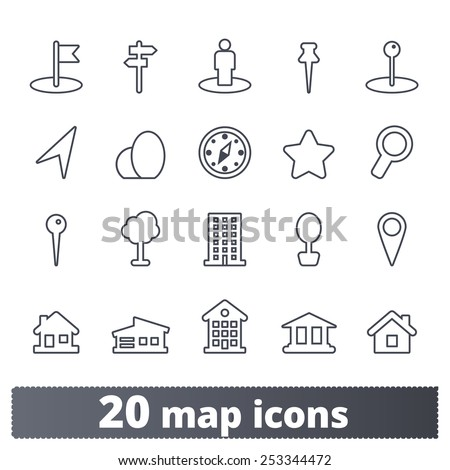 Maps icons: vector set of places, pins and directions symbols. Outline series. - stock vector