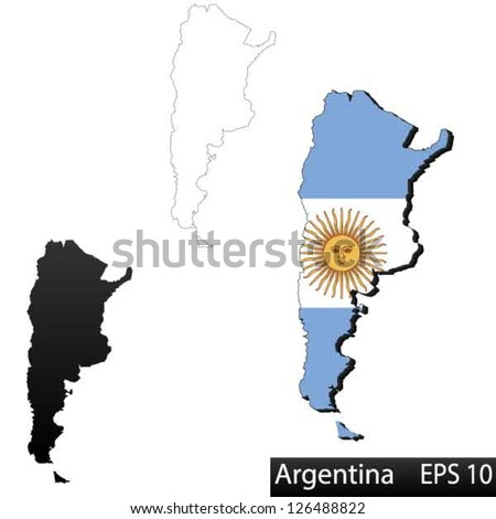 Vector Argentina Set Detailed Country Shape Stock Vector - Argentina map shape