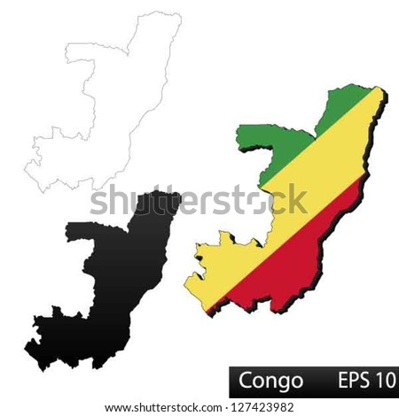 Maps of Democratic Republic of the Congo, 3 dimensional with flag clipped inside borders,and shadow, and black and white contours of country shape, vector