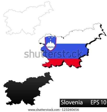 Maps of Slovenia, 3 dimensional with flag clipped inside borders,and shadow, and black and white contours of country shape, vector - stock vector