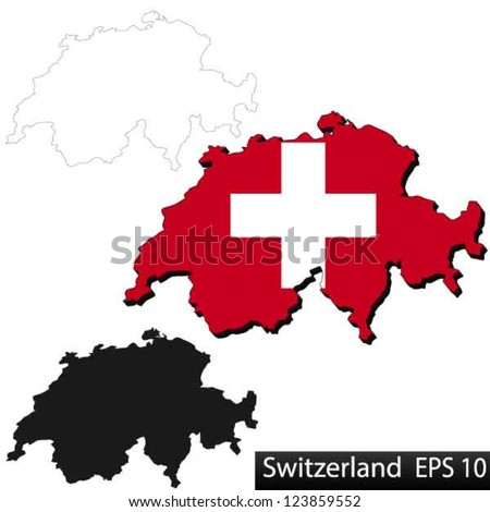 Maps of Switzerland, 3 dimensional with flag clipped inside borders,and shadow, and black and white contours of country shape, vector