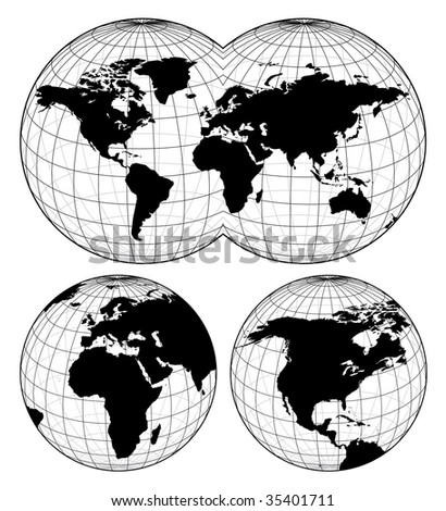 Maps of the world - stock vector