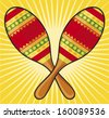 maracas instrument (colorful mexican maracas) - stock photo