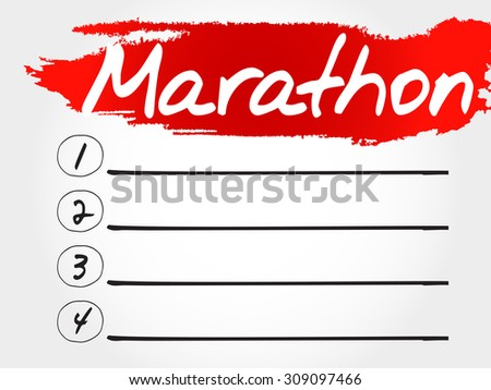 MARATHON blank list, fitness, sport, health concept - stock vector