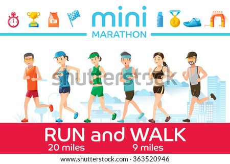 Marathon concept. Basic icons of running race. Character of runner. Outdoor sports graphic design. - stock vector