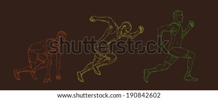 Marathon. Hand drawn runner. Isolated on a white background. Vector.