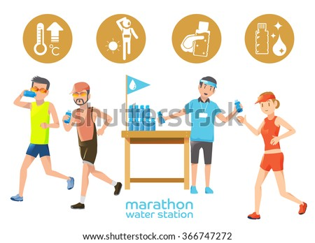 Marathon icons water station.People in race be thirsty water. Hot weather in the competition.Part of marathon race.The endurance race distance.Volunteer in race.Graphic design and vector EPS 10. - stock vector
