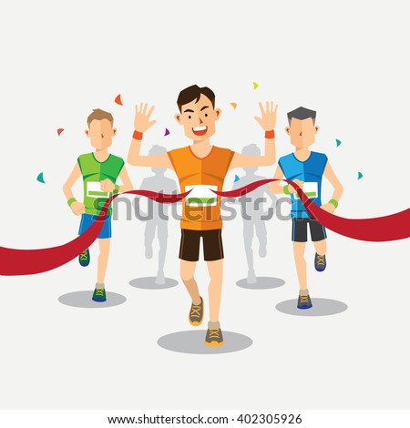 marathon Runners cross the finish line - stock vector