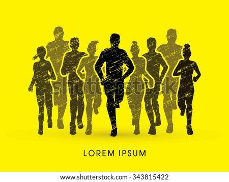 Marathon Runners, designed using grunge brush graphic vector. - stock vector