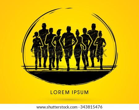 Marathon Runners, designed using grunge brush graphic vector. - stock vector