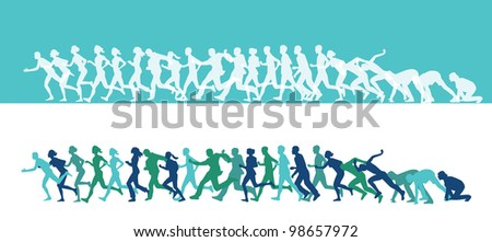 Marathon runners in blue and green - stock vector