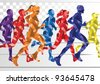 Marathon runners in colorful rainbow landscape background illustration - stock