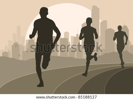 Marathon runners in skyscraper city landscape background illustration - stock vector