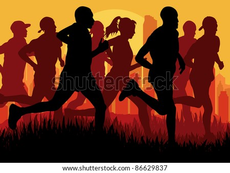 Marathon runners in skyscraper city landscape background illustration