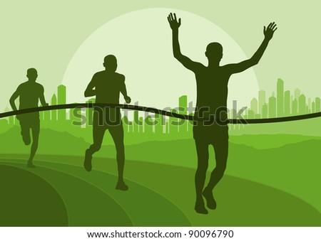 Marathon runners in skyscraper city landscape background illustration - stock vector