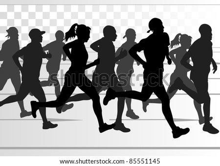 Marathon runners in urban city landscape background illustration