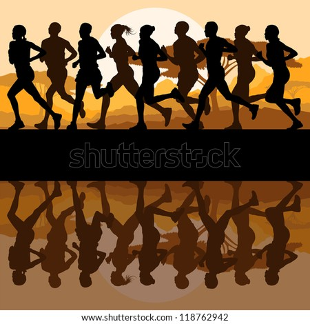 Marathon runners in wild forest nature mountain landscape background illustration vector