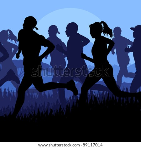Marathon runners in wild nature landscape background illustration - stock vector