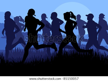 Marathon runners landscape background illustration - stock vector