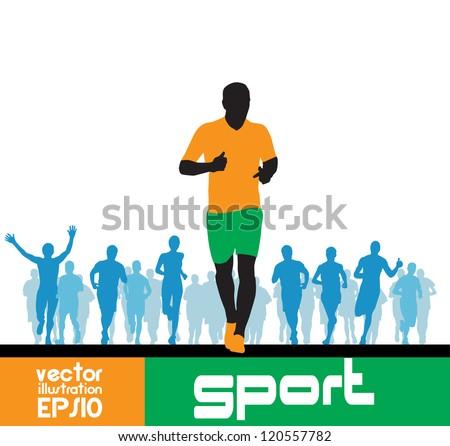 Marathon runners man - stock vector