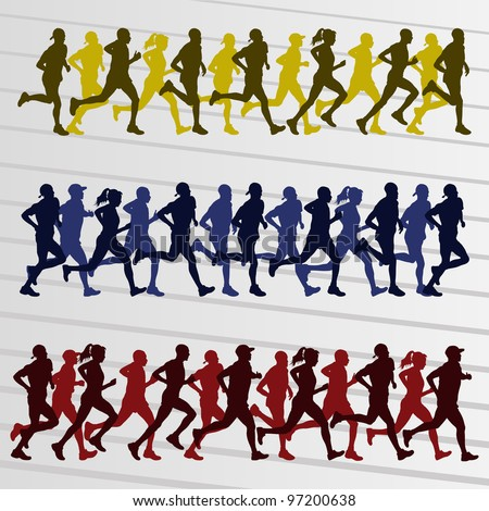 Marathon runners people silhouettes illustration collection background vector - stock vector