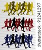 Marathon runners people silhouettes illustration vector collection - stock photo