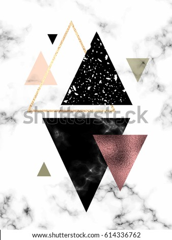Marble background with gold, rose gold triangles. Geometric print for your card, template, business, brochure. Trendy poster for textile, fabric, web, wallpaper, poster, home design, office design.