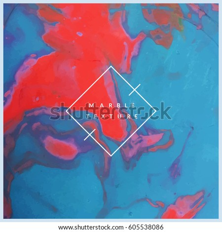 Marble texture background. Red and blue colors mixed. Modern artistic backdrop. Eps10 vector.
