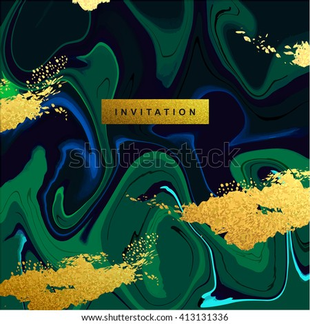 Marble textured wedding invitation card vector template with blue, ocean green and glittering gold liquid acrylic drips on black background. Paint vortexes and whirl texture with marble imitation. - stock vector