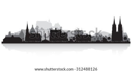Marburg Germany city skyline vector silhouette illustration