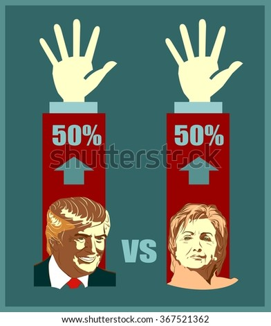 March 1, 2016: A vector illustration of a portrait of Presidential Candidates Donald Trump and Hillary Clinton for show result of elections - stock vector