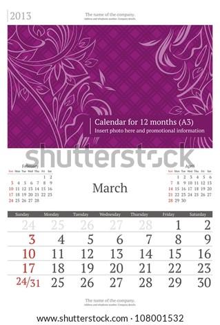 March. 2013 calendar. - stock vector