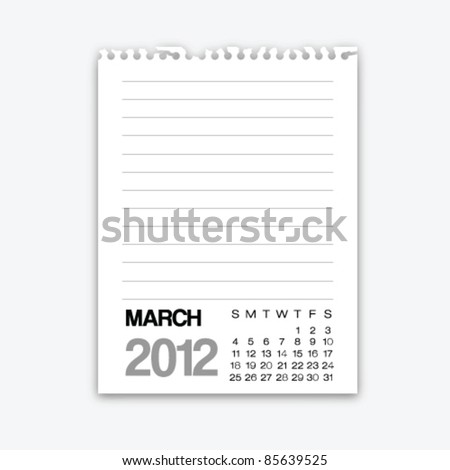 March calendar 2012 on note paper - stock vector