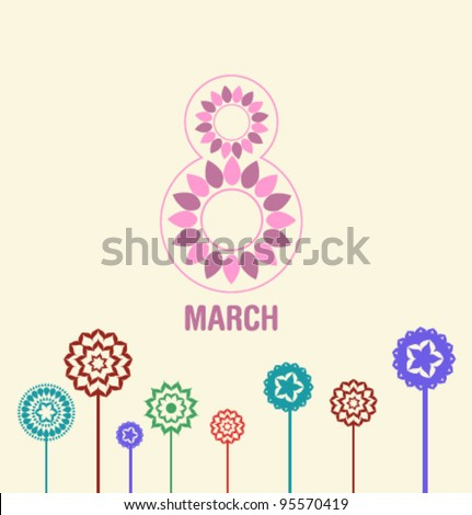 March 8 card - stock vector