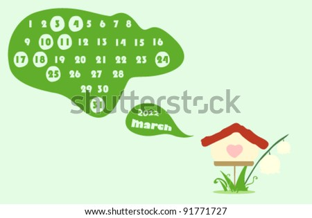 march 2012 colorful calendar illustration with flowers - stock vector