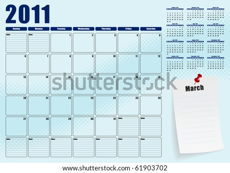 March desk planner for 2011