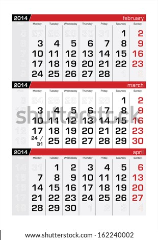 March 2014 Three-Month Calendar - stock vector