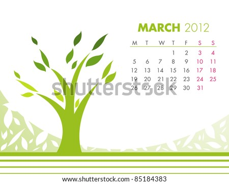 March Tree Calendar 2012. VECTOR