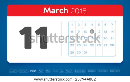 March 11, vector daily calendar, flat design, 2015 - stock vector