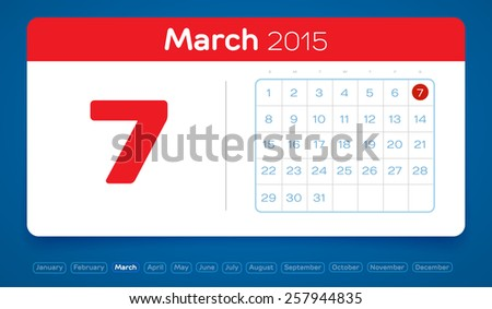 March  Vector Daily Calendar Flat Stock Vector   Shutterstock