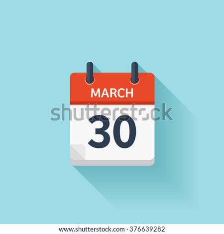 March 30. Vector flat daily calendar icon. Date and time, day, month. Holiday. - stock vector