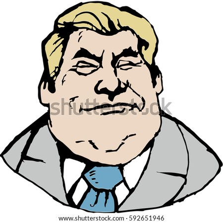 MARCH 2, 2017: Vector portrait of Mr. Donald Trump. President of the U.S.A. Editorial vector illustration