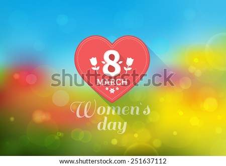 March 8 Women's Day card with tulips on a bright and colorful spring background. Vector illustration