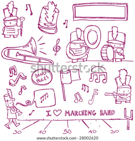 Marching Band Doodles - stock vector
